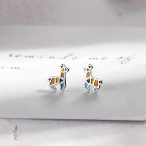 New Sterling Silver Stained Glass Llama Earrings
